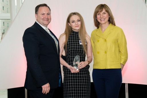 Mark Cornell, Market Director for Western Europe and North America at ACCA, Molly Ashton and Fiona Bruce, awards host.