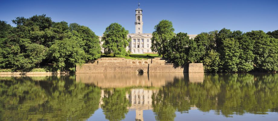 lake with trent building in the background, university park