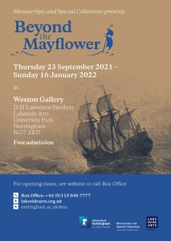 Beyond the Mayflower exhibition poster with address and contact details