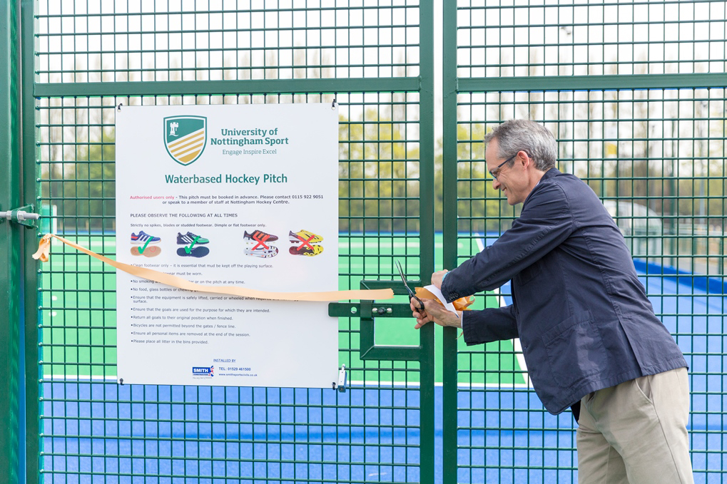 The new pitch is opened by Gold medallist Robert Clift