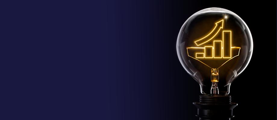 A graph inside a lightbulb
