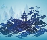 Abstract image featuring daoist imagery
