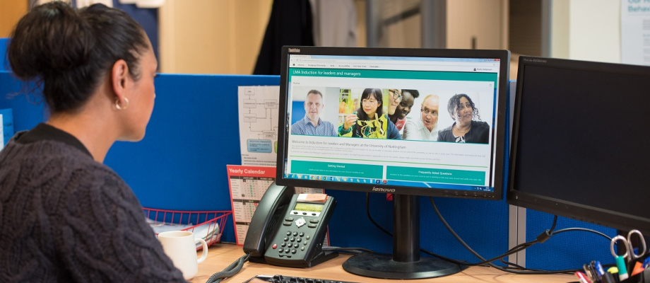 Staff working in the main Human Resources office, Kings Meadow Campus