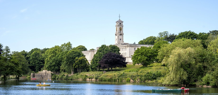 Trent Building with boats on Highfields Lake