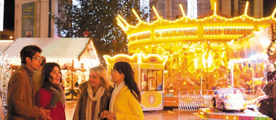 Undergraduate and postgraduate students enjoying the Nottingham Christmas Market