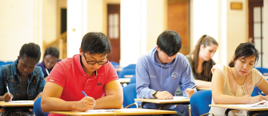 Undergraduate students sitting an exam in the Great Hall, University Park